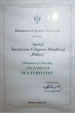 Dyplom za zasługi dla turystyki